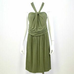LOFT Green Sleeveless Twisted Stretch Knit Dress L
